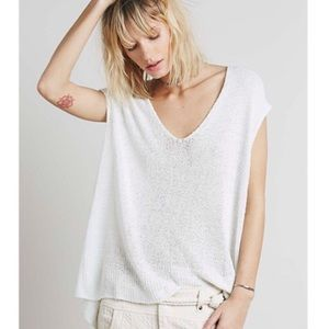 Free People Easy Tee V Neck White Sweater